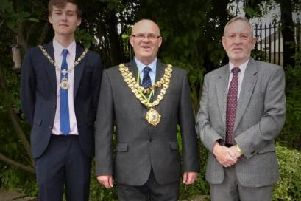 Mayor Stephen Dawber with son Oliver (left) and chairman of Ashtons branch of University of the Third Age Michael Iredale
