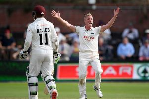 Luke Wood claimed three wickets during a great start for Notts.