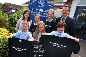 The mental health champions with staff at St Wilfrid's CE Primary Academy