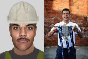 The e-fit image (left) posted by Cleethorpes Community Policing Team and Chris Kamara (right)