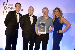 Richard Mitchell, SFH chief executive, your Chad head of content Jon Ball, 2018 People's Award winner Dr Steve Jones, and Carolyn Radford, Stags' CEO.
