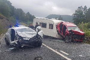 The crash happened on the A591, between Grasmere and Keswick, in the Lake District this afternoon (July 22)