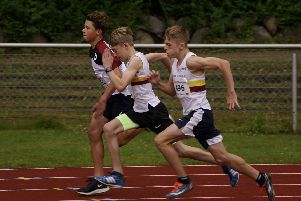 Action from the athletics event.