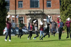 GCSE results day at Roundhay School in 2015.
