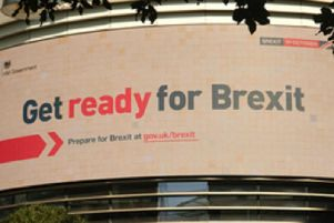 A billboard advert produced by the Government about Brexit