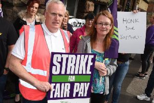 Unison regional organiser Paddy Cleary and Kathryn Herbert, a drug and alcohol worker and Unison rep, on the picket line last month