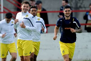 Friends reunited: Barnsley's Alex Mowatt and Leeds's Kalvin Phillips in their days together with the Whites in 2016. (Picture: Jonathan Gawthorpe)