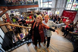 Remembering Deborah Holmes: Joanna Lumley OBE, during her visit to open the Wellness Spa, at Sandersons, Fox Valley, Stocksbridge. Joanna is pictured with Deborah's husband, MD Mark Dransfield. Picture by Simon Hulme