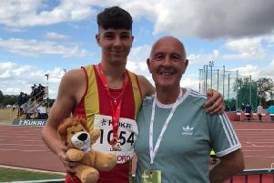 Spenborough AC sprinter Bayleigh Lawton won the English Athletics Under-15s 300 metres title, setting a new personal best of 36.13 seconds. Pictured with coach Stuart Hall.