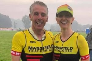 Tony Alcock and Hannah Shooter celebrate their outstanding times in the Outlaw X race at Thoresby Park.