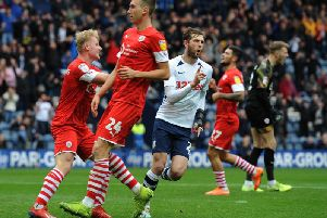 Tom Barkhuizen scores for Preston in their 5-1 win against Barnsley which was Daniel Stendel's last game in charge of the Tykes