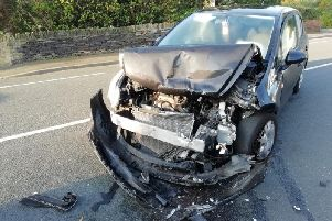 The car that crashed into the back of Peter Burtons car in September, which had a child onboard.