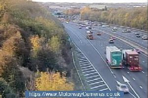 Junction 32 southbound of M1. Photo courtesy of www.MotorwayCameras.co.uk.