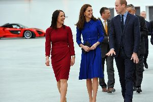 TRH The Duke and Duchess of Cambridge with Ms Ruth Nic Aoidh, executive director for commercial and legal.