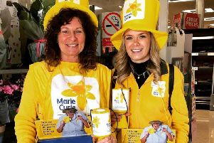 Lucy Styles, community fundraiser for the charity (right), and a volunteer, at a Marie Curie fundraiser in Preston