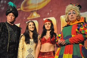 The stars of the panto, 'Aladdin', from left, former 'EastEnders' star Ricky Groves, Lucy Rollason, Josephine Sherlock and Steven Hall.