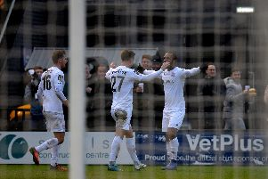 Ash Hemmings celebrates his first goal for the Coasters Picture: STEVE MCLELLAN