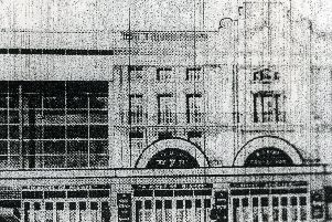 An artists impression showing an alternative design for the Winter Gardens, dated in the 1930s, with a different glass-fronted section