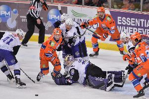 Robert Dowd is foiled by Glasgow Clan's defence on Wednesday