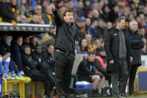 Bradford City's new manager Gary Bowyer issues instructions from the sidelines against Peterborough United on Saturday (Picture: Simon Hulme).