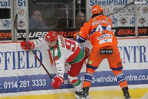 Ryan Martinelli v Cardiff Devils. Pic by Hayley Roberts