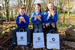 Pupils from Prospect Hill School with their free wildlife kits from David Wilson Homes