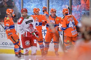 SAME AGAIN PLEASE: Sheffield Steelers' players will look to repeat their win over Cardiff Devils in March at Sheffield Arena. Picture: Dean Woolley.