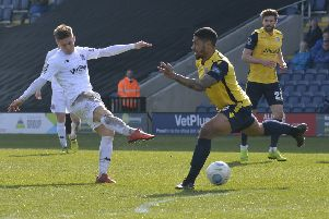 Nick Haughton put AFC Fylde ahead with their third of the afternoon     Picture: Steve McLellan