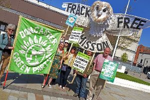 Protesters campaigning last year against fracking at Misson. (PHOTO BY: Marie Caley)