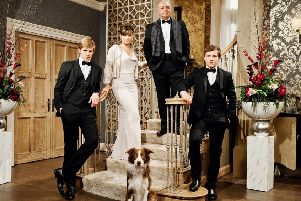 Tom Atkinson (right) when he arrived in Emmerdale as Lachlan White with his soap family (from left) Robert Sugden (Ryan Hawley), Chrissie White (Louise Marwood) and Lawrence White (John Bowe).