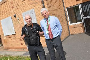 PC Nathan Thomas and Peter Exley, Tenancy and Estates Manager at Bassetlaw District Council.