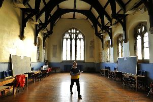 Marcia McLuckie in the 1867  Great Hall  in the  The Old Grammar school in Richmond