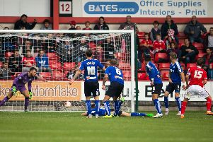 David Fox, right, scoring against the Spireites