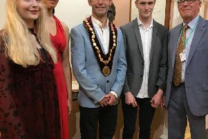 Pictured from left to right Imogen Clemmow (17) junior vocal, Lydia Messam (18) senior vocal, newly elected Mayor of Mansfield, Andy Abrahams, Jonathon Clarke (19) piano, Paul Bacon Festival Chairman.