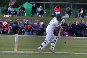 Notts batsman Steven Mullaney in action on day one at Welbeck