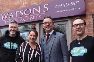 Two of the Jam organisers, Nathan Chilcot (left) and Bainy Bain (right), with Sheree and Will Watson, of sponsor, Watsons.