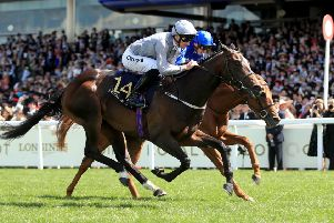 Another triumph: Danny Tudhope recorded his fourth winner of the week at Royal Ascot when Space Traveller (grey colours) landed the Jersey Stakes.