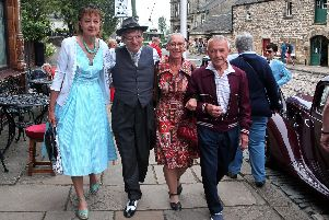Promenading outside the Red Lion, from left, Vivien and Paul Scott and Jane and Mick Rouse.