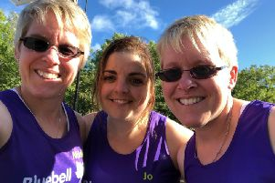 Running trio Nicola Yeomans (left), Joanne Clarkson and Alison Heath (right) have raised more than 12,000  for Bluebell Wood.