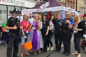 Police join in the fun at the Worksop Pride celebrations.