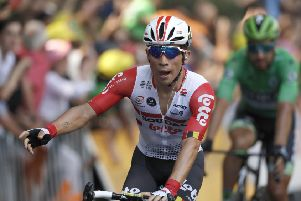 Australia's Caleb Ewan celebrates as he crosses the finish line to win the 11th stage of the Tour de France - over 167 kilometers (103,77 miles) from Albi to Toulouse. PIC: AP Photo/Christophe Ena