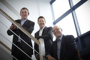 Converse Pharma's management team: chairman and CEO David Horry, managing director Mark Gulliford, and group finance and operations director Andy Wilson.
