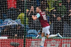 Ashley Barnes celebrates his second goal