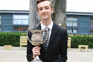 Star student Jay Green with his student of the year award. Picture: Trinity Academy, Doncaster.