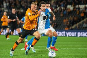 On the attack: Jarrod Bowen goes forward as Lewis Travis chases him down.'  Picture: Bruce Rollinson