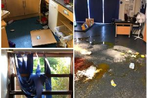 Some of the vandalism and damage at Mayfield School in Chorley