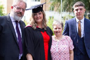 Laura McManus, who graduated at Lancaster Universitys Medical School, pictured with her dad, Chris McManus, her godmother Sharon Hodson and her son Byron, 13.