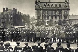D Company of the 7th Battalion, Loyal North Lancashire Regiment, also known as Preston Pals, forming up on the Flag Market on September 7, 1914 before marching to Preston railway station and off for military training