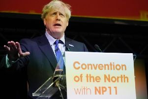 Boris Johnson speaks at the Convention of the North conference in Rotherham. Pic: Getty Images