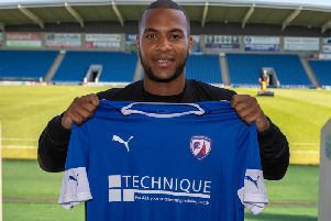Gevaro Nepomuceno has joined Chesterfield on loan until January 1. Picture by Tina Jenner.